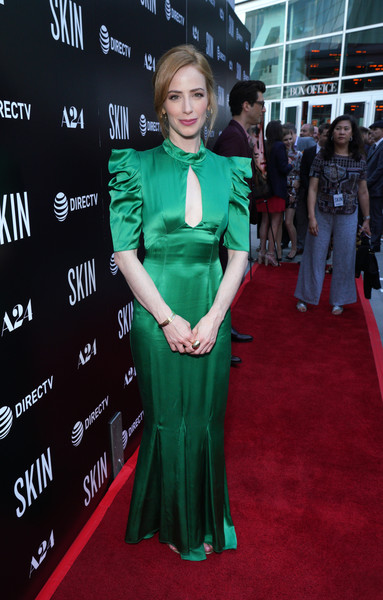 Jaime Ray Newman Cutout Dress [red carpet,carpet,clothing,green,flooring,premiere,dress,event,long hair,gown,jaime ray newman,red carpet,skin,arclight hollywood,california,la special screening of a24]