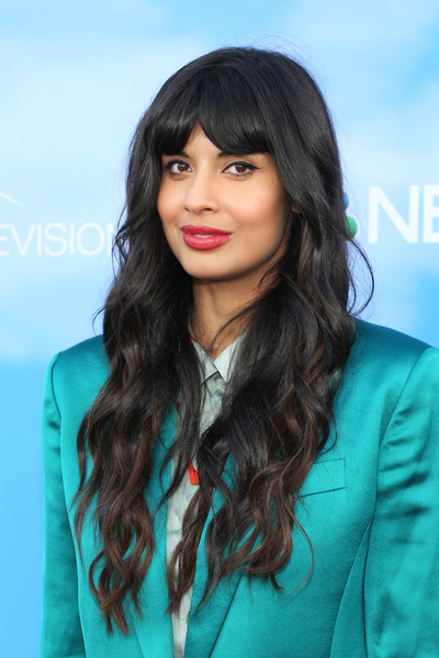 Jameela Jamil Long Wavy Cut with Bangs [the good place,hair,face,hairstyle,lip,layered hair,long hair,black hair,eyebrow,beauty,brown hair,jameela jamil,california,north hollywood,saban media center,fyc,nbc,event]