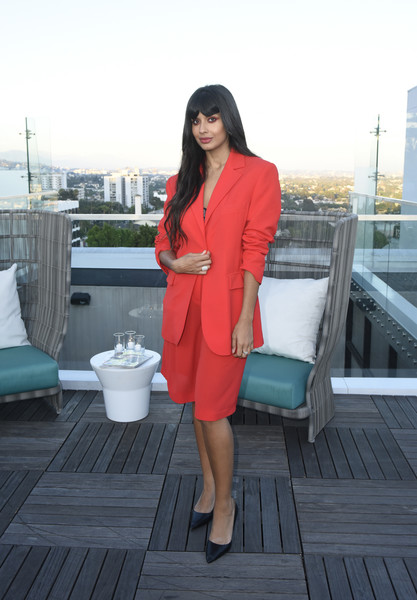 Jameela Jamil Short Suit [clothing,red,pink,outerwear,lady,snapshot,fashion,turquoise,dress,footwear,jameela jamil,badass women dinner with foster grant,west hollywood,california,instyle,the london west hollywood]