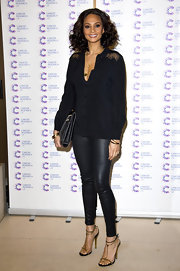 Alesha Dixon looked cool and edgy in black, especially in this black button down.
