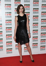 Rebecca Hall chose a beaded sparkly frock for her sleek and sophisticated red carpet look at the Empire Awards.