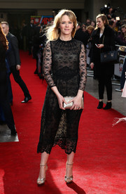 Edith Bowman looked subtly sexy in a sheer lace LBD during the Jameson Empire Awards.