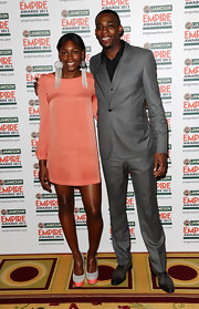 Perri Shakes Drayton wore this peach shift dress to the Jameson Empire Awards.