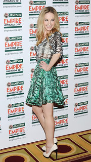 Joanne Froggatt was flirty in this tropical circle skirt at the Jameson Empire Awards.