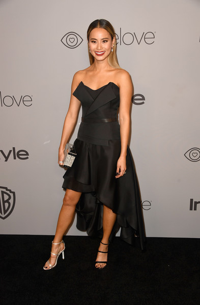Jamie Chung Strapless Dress [clothing,dress,shoulder,cocktail dress,little black dress,fashion,fashion model,hairstyle,joint,strapless dress,arrivals,jamie chung,beverly hills,california,the beverly hilton hotel,warner bros. pictures,instyle host,post-golden globes party]