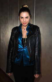 Amber Le Bon sported a leather jacket at Jamie Cullum's album launch.