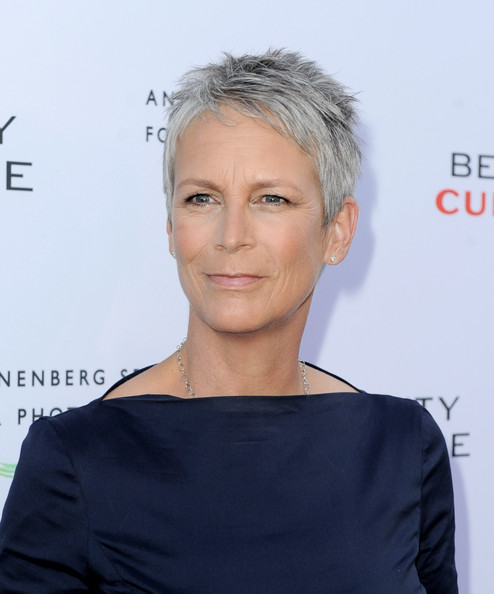 Jamie Lee Curtis Pixie [eyebrow,hairstyle,chin,forehead,blond,shoulder,long hair,neck,hair coloring,brown hair,beauty culture,annenberg space for photography - red carpet,annenberg space for photography,california,los angeles,jamie lee curtis]