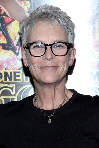 Jamie Lee Curtis Pixie [eyewear,hair,glasses,hairstyle,cool,chin,forehead,vision care,black hair,funimation films presents one piece film: gold theatrical premiere,west hollywood,ca,jamie lee curtis]