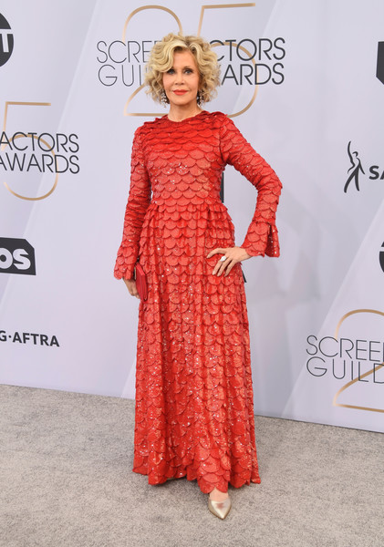 Jane Fonda Sequin Dress [red carpet,clothing,dress,carpet,red,shoulder,fashion model,fashion,flooring,orange,arrivals,jane fonda,screen actors guild awards,screen actors\u00e2 guild awards,california,los angeles,the shrine auditorium]