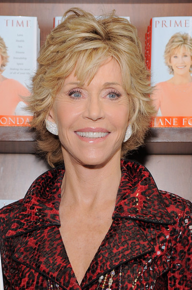 Jane Fonda added a little sparkle to her book tour with jeweled earrings.