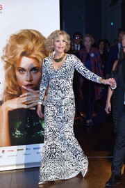 Jane Fonda rocked a leopard-print gown by Roberto Cavalli at the 2018 Lumière Film Festival.