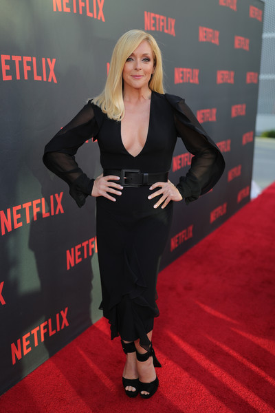 Jane Krakowski Little Black Dress [carpet,red carpet,clothing,premiere,flooring,little black dress,dress,unbreakable kimmy schmidt,jane krakowski,for your consideration,red carpet,north hollywood,california,saban media center,netflix,red carpet,consideration event]