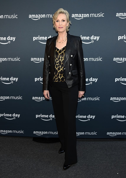 Jane Lynch Leather Jacket [clothing,fashion,suit,leather,pantsuit,footwear,outerwear,jacket,formal wear,fashion design,jane lynch,new york city,amazon,concert,amazon prime day concert]