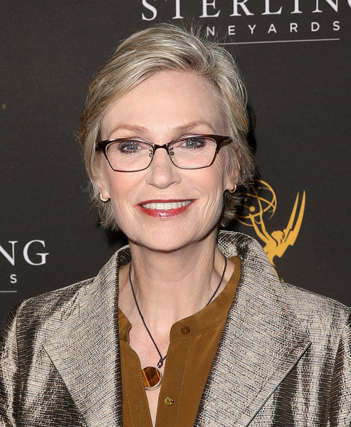 Jane Lynch Short Side Part [eyewear,hair,glasses,hairstyle,blond,vision care,smile,premiere,nominees,casting directors,jane lynch,emmy awards,mr. c beverly hills,california,reception]