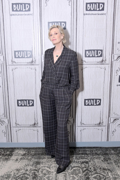 Jane Lynch Jumpsuit [hollywood game night,clothing,pantsuit,suit,hairstyle,fashion,street fashion,outerwear,plaid,pattern,overall,celebrities,jane lynch,build,new york city,build studio,jane lynch,fashion,lookbook,pantsuit,leather jacket,jacket,clothing,socialite,blazer,casual wear]
