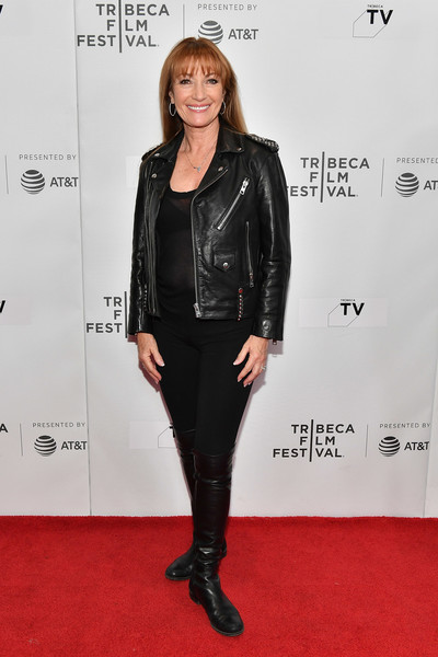 Jane Seymour Flat Boots [clothing,leather,leather jacket,jacket,footwear,carpet,textile,outerwear,joint,premiere,indie pilots,jane seymour,tv,screeing,tribeca tv,tribeca,new york city,cinepolis chelsea,tribeca film festival,oversharing]