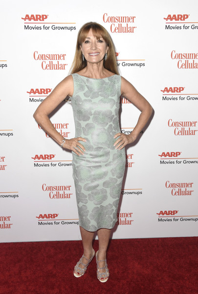 Jane Seymour Cocktail Dress [clothing,dress,cocktail dress,shoulder,red carpet,carpet,hairstyle,premiere,joint,footwear,arrivals,jane seymour,movies for grownups awards,beverly hills,california,beverly wilshire four seasons hotel,aarp the magazine]
