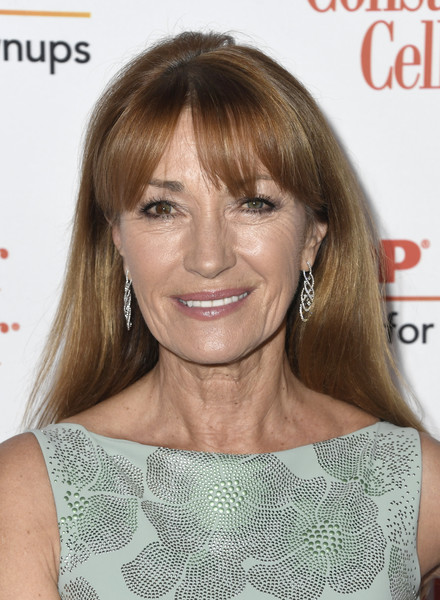 Jane Seymour Long Straight Cut with Bangs [hair,face,hairstyle,blond,eyebrow,brown hair,chin,skin,bangs,layered hair,arrivals,jane seymour,movies for grownups awards,beverly hills,california,beverly wilshire four seasons hotel,aarp the magazine]