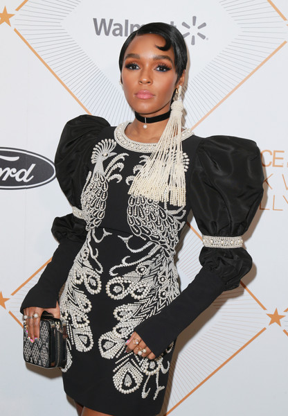 Janelle Monae Zip Around Clutch [red carpet,clothing,dress,shoulder,fashion,joint,fashion model,cocktail dress,little black dress,fashion design,flooring,janelle monae,beverly hills,california,regent beverly wilshire hotel,essence black women in hollywood oscars luncheon]
