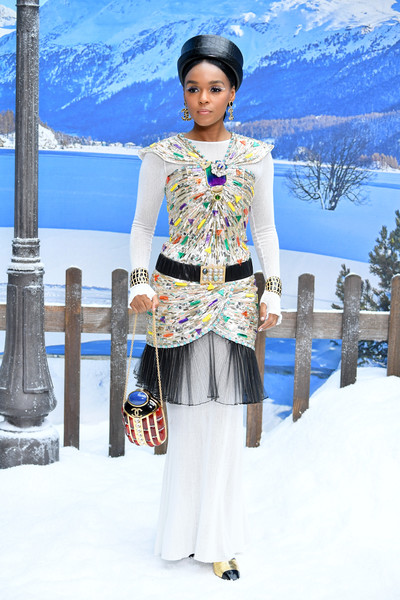 Janelle Monae Evening Dress [show,white,clothing,winter,fashion,snow,street fashion,textile,neck,photography,recreation,janelle monae,part,paris,france,chanel,photocall- paris fashion week womenswear fall]