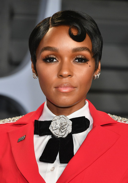 Janelle Monae Boy Cut [oscar party,vanity fair,hair,eyebrow,forehead,hairstyle,suit,formal wear,chin,fashion,lip,tuxedo,belvedere,beverly hills,california,wallis annenberg center for the performing arts,janelle monae,radhika jones - arrivals,radhika jones]