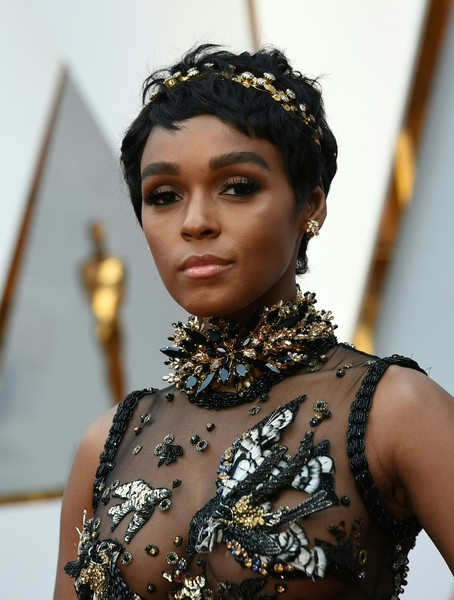 Janelle Monae Pixie [beauty,fashion,tradition,jewellery,black hair,headpiece,fashion accessory,hair accessory,fashion design,makeover,arrivals,janelle monae,valerie macon,red carpet,california,hollywood,afp,academy awards]