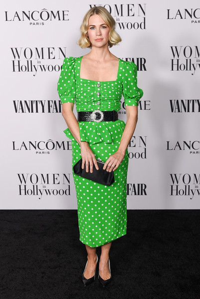 January Jones Frame Clutch [clothing,green,dress,shoulder,hairstyle,cocktail dress,joint,fashion,pattern,premiere,january jones,me women in hollywood,lanc\u00e3,west hollywood,california,soho house,vanity fair,lanc\u00f4me women in hollywood celebration,celebration,january jones,hollywood,vanity fair,charles finch,actor,lanc\u00f4me,oscar party,sicos cie s.n.c.]