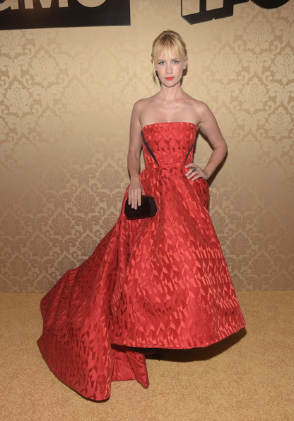 January Jones Hard Case Clutch [dress,fashion model,clothing,gown,red,fashion,lady,haute couture,blond,bridal party dress,arrivals,january jones,primetime emmy awards,west hollywood,california,boa steakhouse,amc,ifc,sundance channel,party]