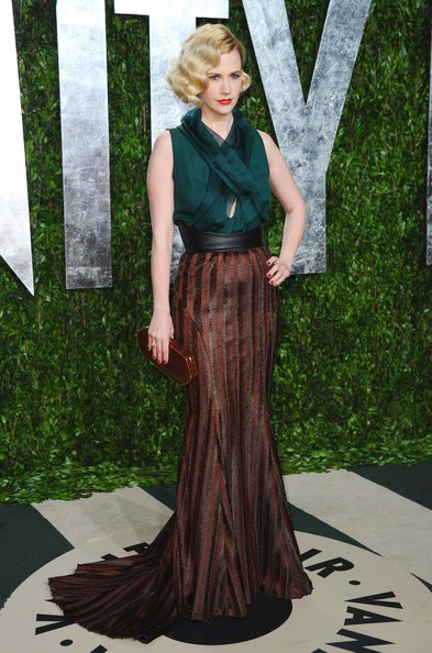 January Jones Leather Clutch [oscar party,vanity fair,clothing,dress,gown,green,fashion,formal wear,lady,costume design,long hair,haute couture,west hollywood,california,sunset tower,january jones,graydon carter - arrivals,graydon carter]