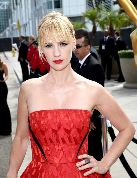 January Jones Stackable Rings [hair,fashion model,hairstyle,clothing,shoulder,dress,red,beauty,fashion,blond,arrivals,january jones,part,california,los angeles,nokia theatre l.a. live,primetime emmy awards]