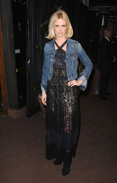 January Jones Halter Dress [clothing,fashion,dress,outerwear,textile,fashion design,denim,event,haute couture,flooring,actresses,january jones,california,los angeles,madeo restaurant,chanel,celebrating fashion film - arrivals,charles finch pre-oscar,dinner]