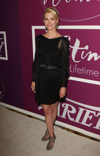 January Jones Little Black Dress [clothing,dress,cocktail dress,little black dress,shoulder,fashion,fashion model,footwear,blond,joint,january jones,arrivals,beverly hills,california,beverly wilshire hotel,variety,1st annual power of women luncheon]