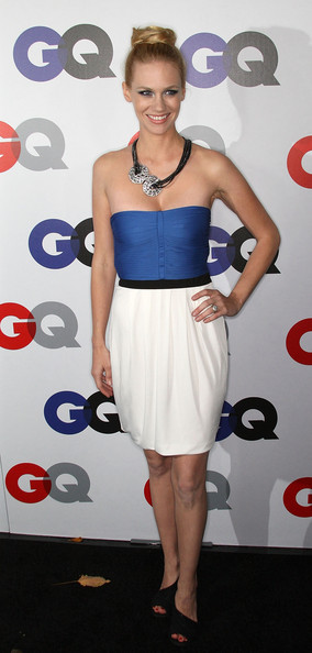 January Jones Strapless Dress [men of the year,clothing,dress,shoulder,white,cocktail dress,joint,strapless dress,hairstyle,cobalt blue,footwear,party - arrivals,january jones,gq men of the year party,california,los angeles,chateau marmont hotel,gq]
