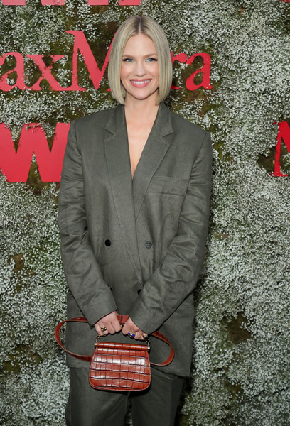 January Jones Leather Purse [instyle max mara women in film celebration,max mara women in film celebration,january jones,red,blazer,outerwear,fashion,suit,jacket,formal wear,coquelicot,bag,pantsuit,chateau marmont,los angeles,california,instyle]