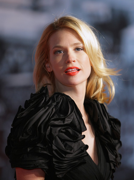 January Jones Bright Lipstick [sherlock holmes,hair,face,blond,black,lady,beauty,lip,red,hairstyle,fashion,january jones,german,cinestar,berlin,premiere]