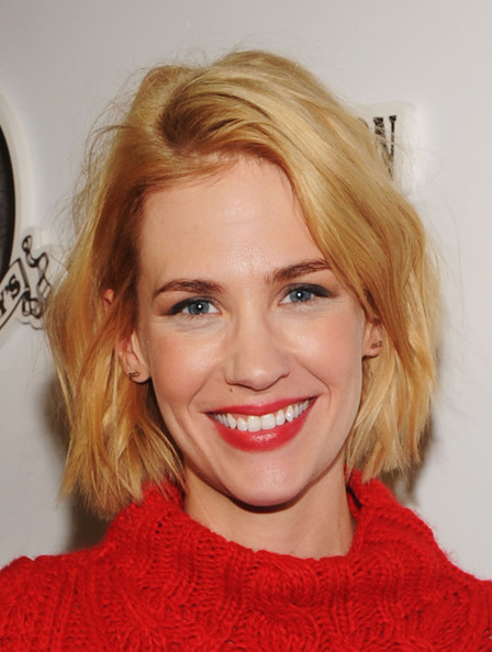 January Jones Red Lipstick [true religion,sweetwater official cast and filmmakers party,party,hair,face,blond,hairstyle,eyebrow,lip,chin,beauty,hair coloring,layered hair,park city,sweetwater,utah,january jones,filmmakers,cast]