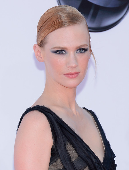 January Jones Smoky Eyes [hair,face,hairstyle,eyebrow,lip,beauty,chin,blond,fashion model,eyelash,arrivals,january jones,california,los angeles,nokia theatre l.a. live,primetime emmy awards]