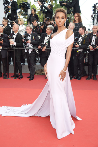 Jasmine Tookes Cutout Dress [the beguiled red carpet arrivals,the beguiled,red carpet,dress,carpet,gown,shoulder,flooring,premiere,clothing,event,hairstyle,jasmine tookes,screening,cannes,france,cannes film festival,palais des festivals]