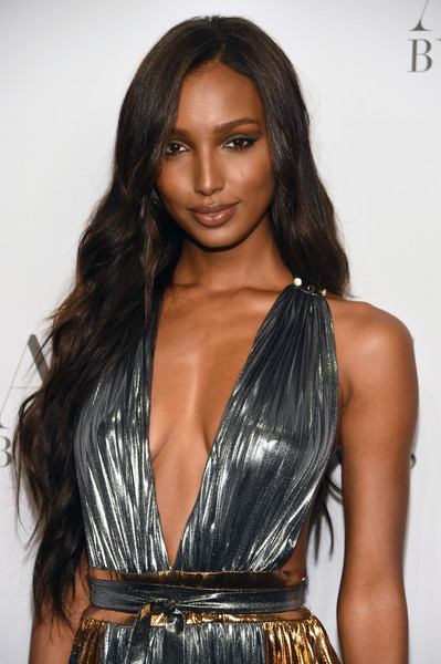 Jasmine Tookes Long Wavy Cut [hair,hairstyle,clothing,long hair,fashion model,black hair,beauty,eyebrow,brown hair,layered hair,arrivals,cindy crawford,candice swanepoel host angels,russell james,jasmine tookes,angels,stephan weiss studio,russell james book launch and exhibit,exhibit,book launch]