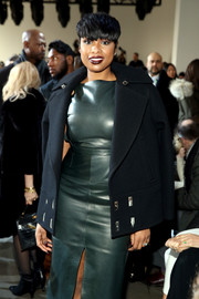 Jennifer Hudson's black pea coat and green leather dress at the Jason Wu fashion show were a very stylish pairing!