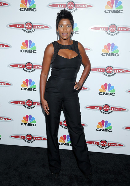 More Pics of Tamron Hall Fauxhawk (1 of 4) - Tamron Hall Lookbook - StyleBistro [tamron hall,jay leno,clothing,shoulder,joint,carpet,red carpet,flooring,style,garage launch party,jay lenos garage launch party,new york city,press lounge,ink48]