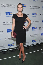 Ivanka Trump topped off her LBD with a statement necklace and black pumps.
