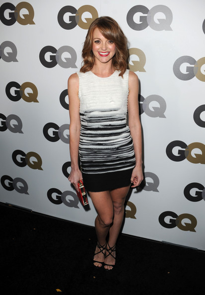Jayma Mays Strappy Sandals [gq,men of the year,clothing,dress,cocktail dress,fashion,shoulder,footwear,little black dress,joint,leg,fashion model,party - arrivals,jayma mays,california,los angeles,chateau marmont,party]