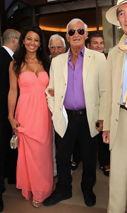 Barbara Gandolfi was spotted in Cannes in a pretty coral strapless maxi dress that was perfect for a daytime affair.