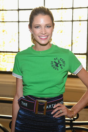 Helena Bordon teamed an oversized Etro belt with a blue skirt and a green T-shirt for the Jean Paul Gaultier Couture show.