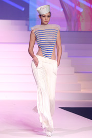 Gigi Hadid was a sexy sailor in a sheer striped top at the Jean Paul Gaultier Couture Spring 2020 show.