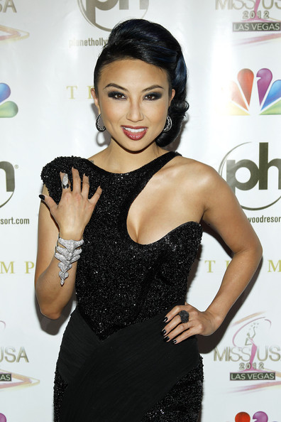 Jeannie Mai Cuff Bracelet [hairstyle,dress,black hair,eyelash,little black dress,shoulder,cocktail dress,fashion accessory,jewellery,neck,arrivals,jeannie mai,planet hollywood resort casino,las vegas,nevada,miss usa,competition,pageant]