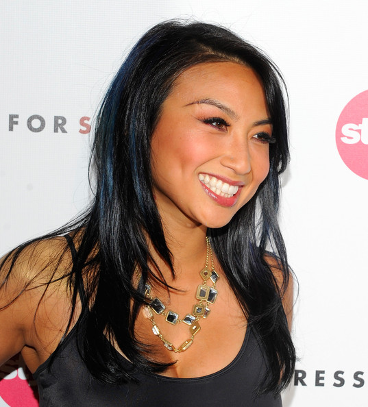 Jeannie Mai Gold Link Necklace [hair,hairstyle,black hair,eyebrow,long hair,beauty,chin,forehead,layered hair,human,arrivals,jeannie mai,west hollywood,california,soho house,give get fete]