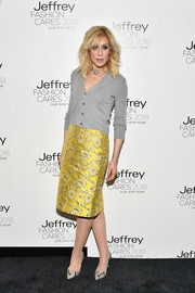 Judith Light kept it simple up top in a gray cardigan at the Jeffrey Fashion Cares 2018.