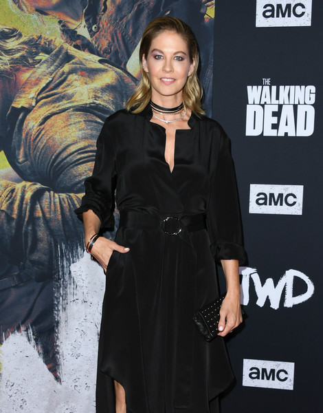 Jenna Elfman Studded Clutch [the walking dead,season,clothing,little black dress,dress,fashion,fashion model,premiere,carpet,cocktail dress,event,black hair,arrivals,jenna elfman,hollywood,california,chinese,special screening of amc]